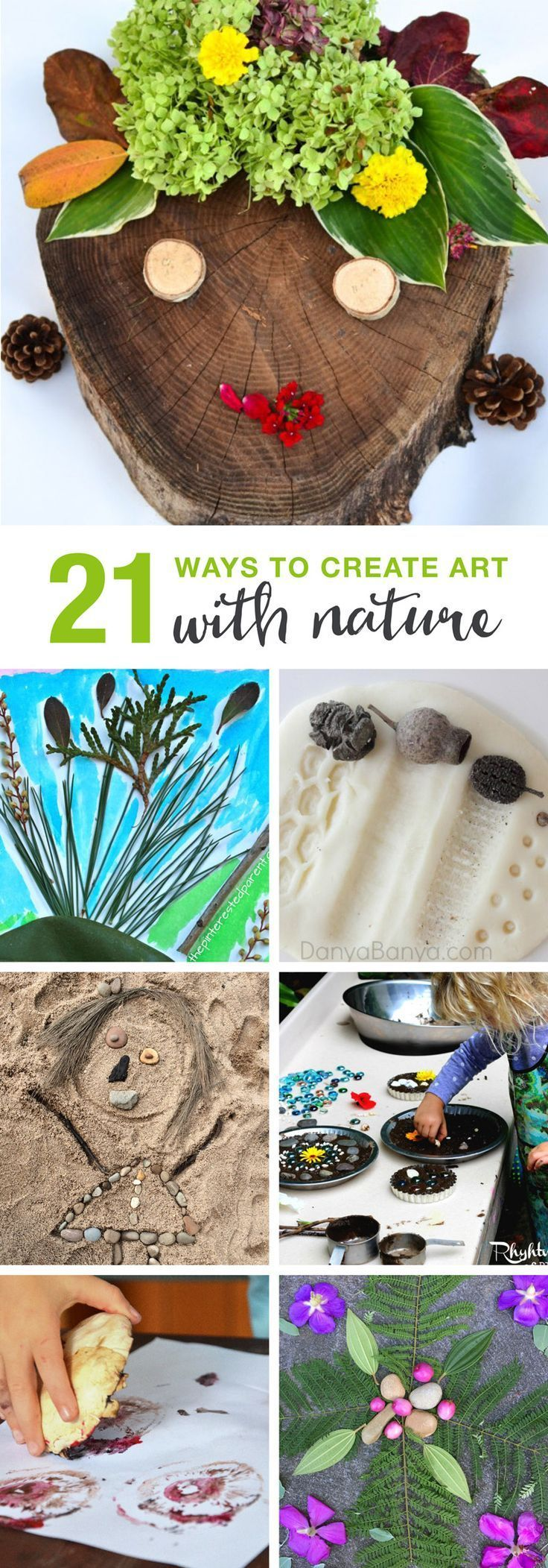 21 ways to create art with nature! Fun outdoor and nature based activities for kids