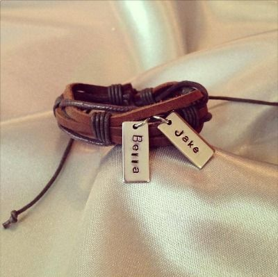 A great personalised gift for the man in your life. Leather bracelet with high quality stainless steel tag personalised with the text of your choice.Each letter and design is hand stamped on a stainless steel tag. Choose up to 4 tags as a wonderful personalised addition.