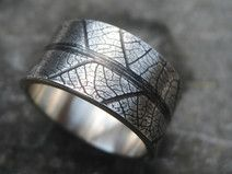 Männer Ring schwarze Blatt Maserung 12 mm breit