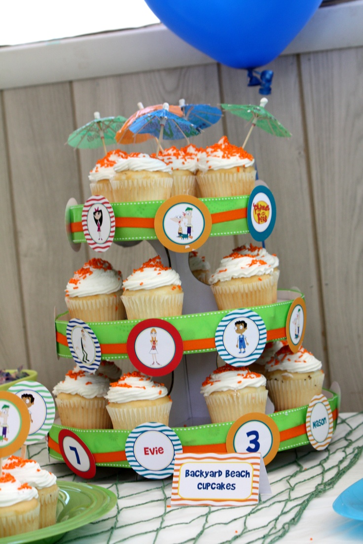 Phineas and Ferb cupcake stand