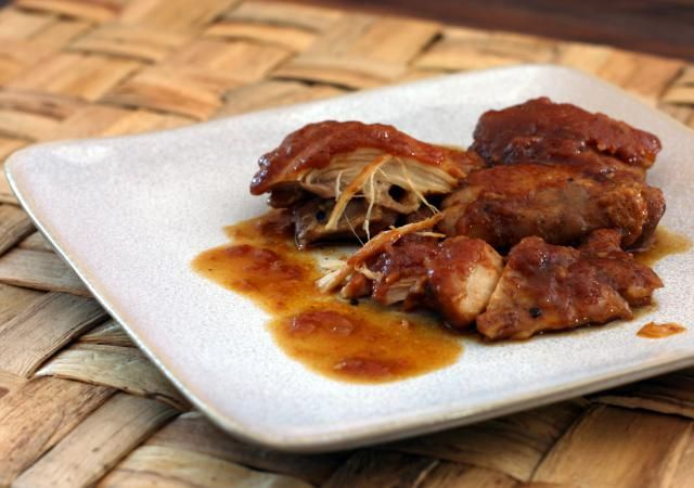 Tasty chicken thighs are baked with a homemade barbecue sauce for a delicious everyday family meal.