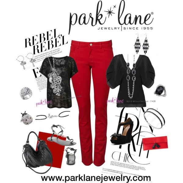 Red Jeans: Rebel to Chic, created by parklanejewelry.polyvore.com.  Park Lane Jewelry featured: Intermix necklace and earrings, Studded ring, Love bracelet, Lucky Lady ring, Rich and Famous necklace, Night and Day earrings, On the Town bracelets, Noche ring