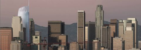 View of Los Angeles' downtown skyline, including the planned Wilshire Grand tower (3rd L). Courtesy AC Martin