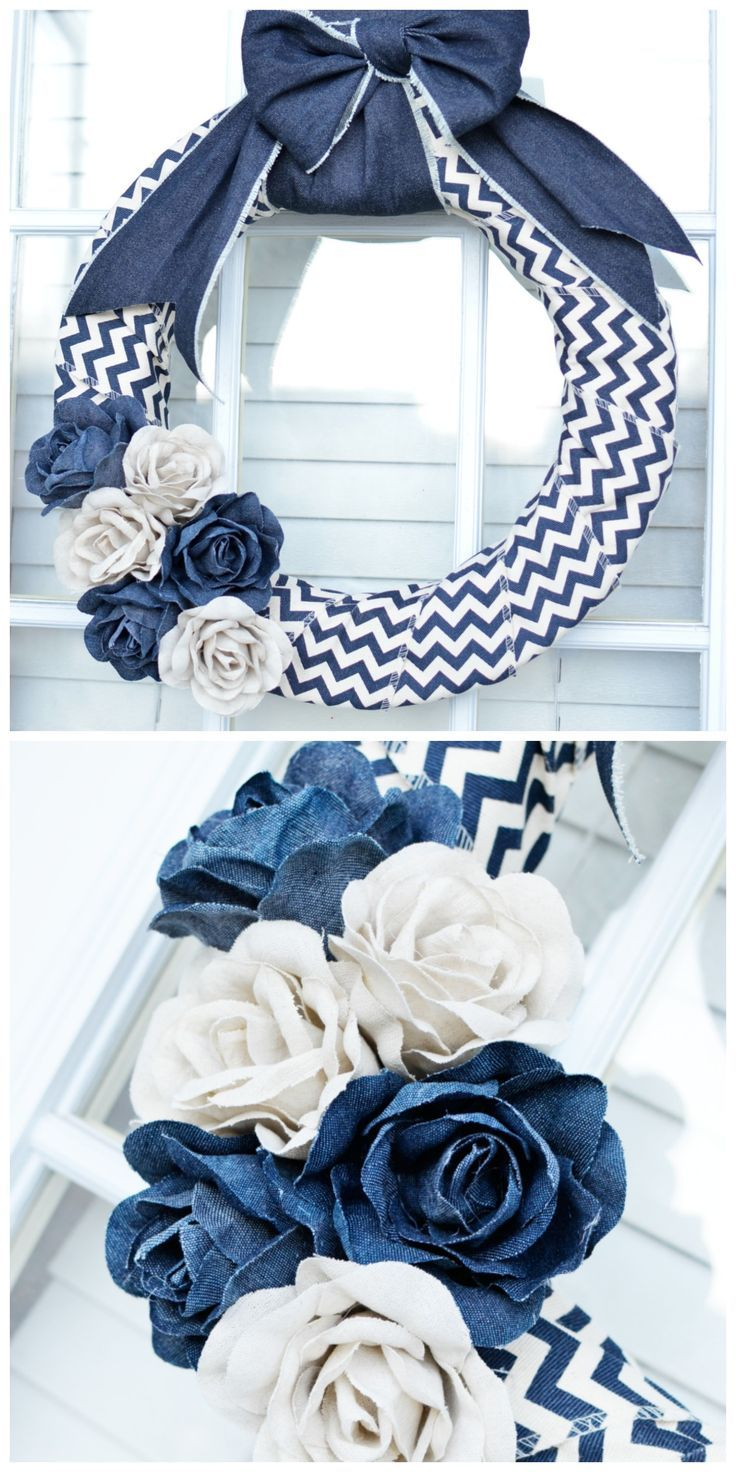 Denim Wreath Tutorial - in only 10 minutes!! Awesome home decor idea!