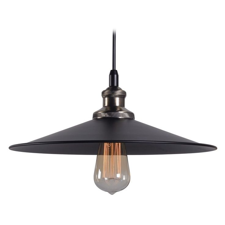 Kenroy Home Ancestry Black and Antique Bronze Pendant Light with Coolie Shade | 93371BL | Destination Lighting