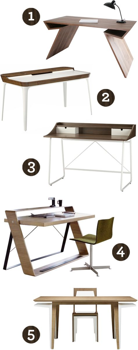 { 1 } Xbien Table  { 2 } Airia Desk by Herman Miller  { 3 } Swoop Desk by CB2  { 4 } Bulego Desk by Nueva Linea  { 5 } Delta Desk by Brave Space Design