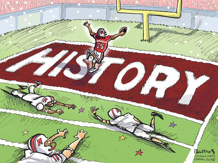 UW running back Melvin Gordon had a historic night on Saturday and broke the single-game college rushing record. Here's Phil Hands' cartoon from the Wisconsin State Journal. #Madison #Wisconsin #Badgers