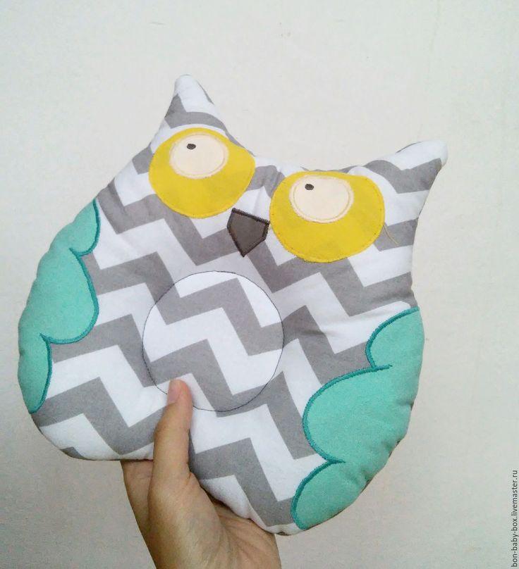 """Купить Подушка """"Совушка"""" для новорожденных - мятный, серый, зигзаг, сова, сова в подарок, сова игрушка"""
