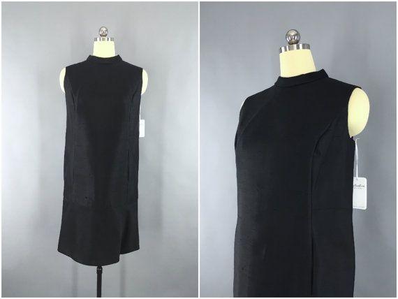 Vintage 1960s Dress / 1960s Cocktail Party Dress / Mod Shift Dress / Preppy Formal Dress / LBD Black Dress / Size Large L 12