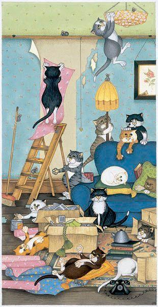 Era uma vez uma turma de gatos do barulho, aliás, da pá virada. Consegue imaginar como eles deixaram a casa depois que a sua dona saiu pra trabalhar?! Pois é, um lixo! (rs) Sabe, a dona Leila é tão ... DC