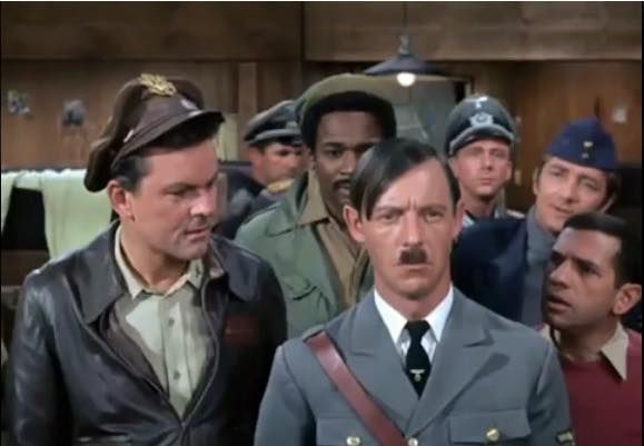 Back row; Kinchlow (Ivan Dixon), Newkirk (Richard Dawson) Middle row; Hogan (Bob Crane), Lebeau (Robert Clary) Front Center; Carter (Larry Hovis)