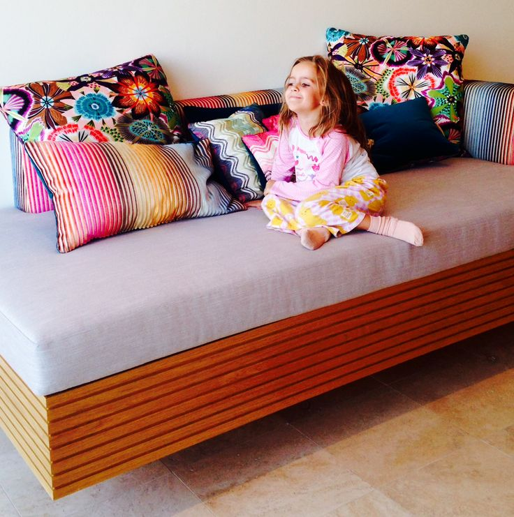 A missoni fabric wrapped bespoke day bed
