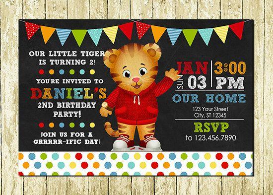 Daniel Tiger Digital Chalkboard Invitations by LittlePartyDesigns