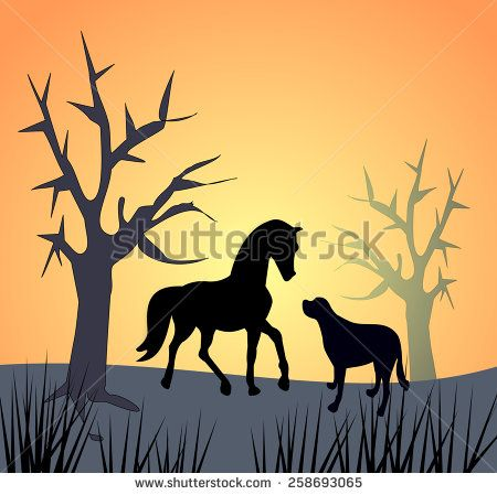 A dog and a horse and some bare trees in the sunset or sunrise.