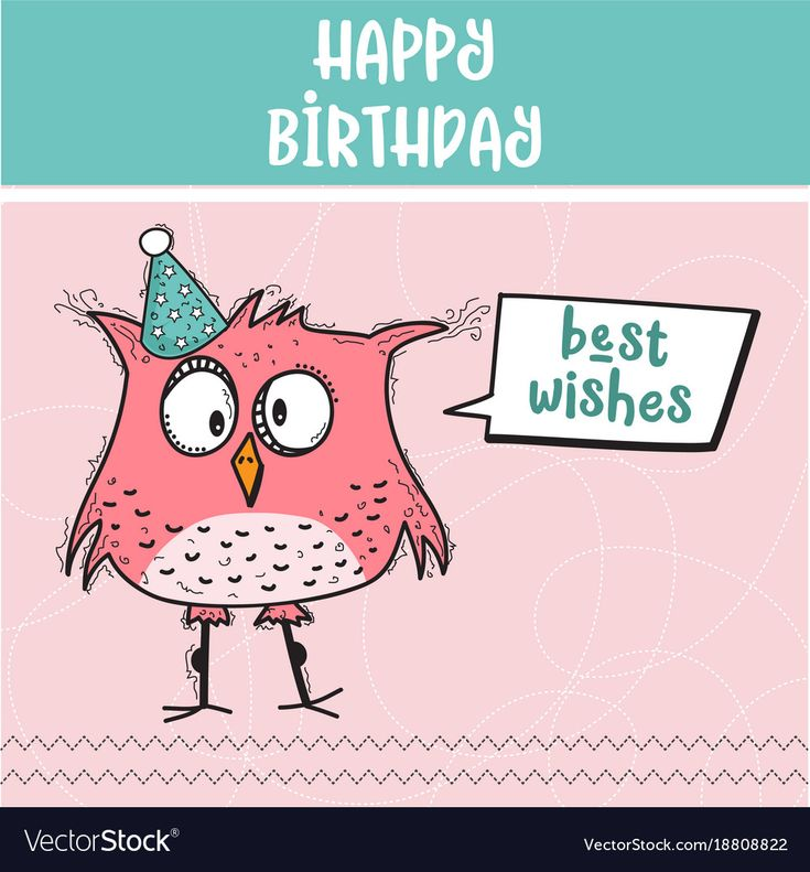 happy birthday card with funny doodle bird, vector format ...