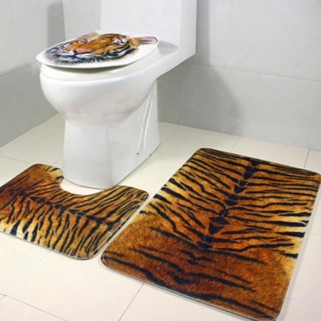 3pc Bathroom Set HD Tiger Print Toilet Cover Absorbent Non-Slip Mat Toilet Foot Mat