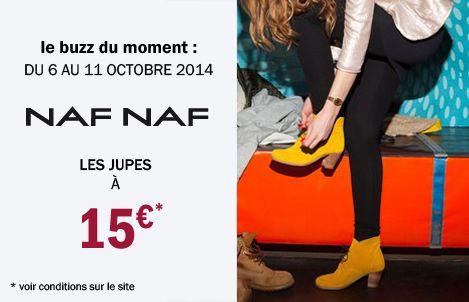 Opération Jupes dans votre magasin Outlet jusqu'au 11 octobre : Les jupes Naf Naf sont à 15€ ! C'est le moment de troquer votre jean pour un look féminin… Courte, droite, plissée, patineuse, à motifs ou unie, profitez-vite de ce bon plan mode à petits prix.