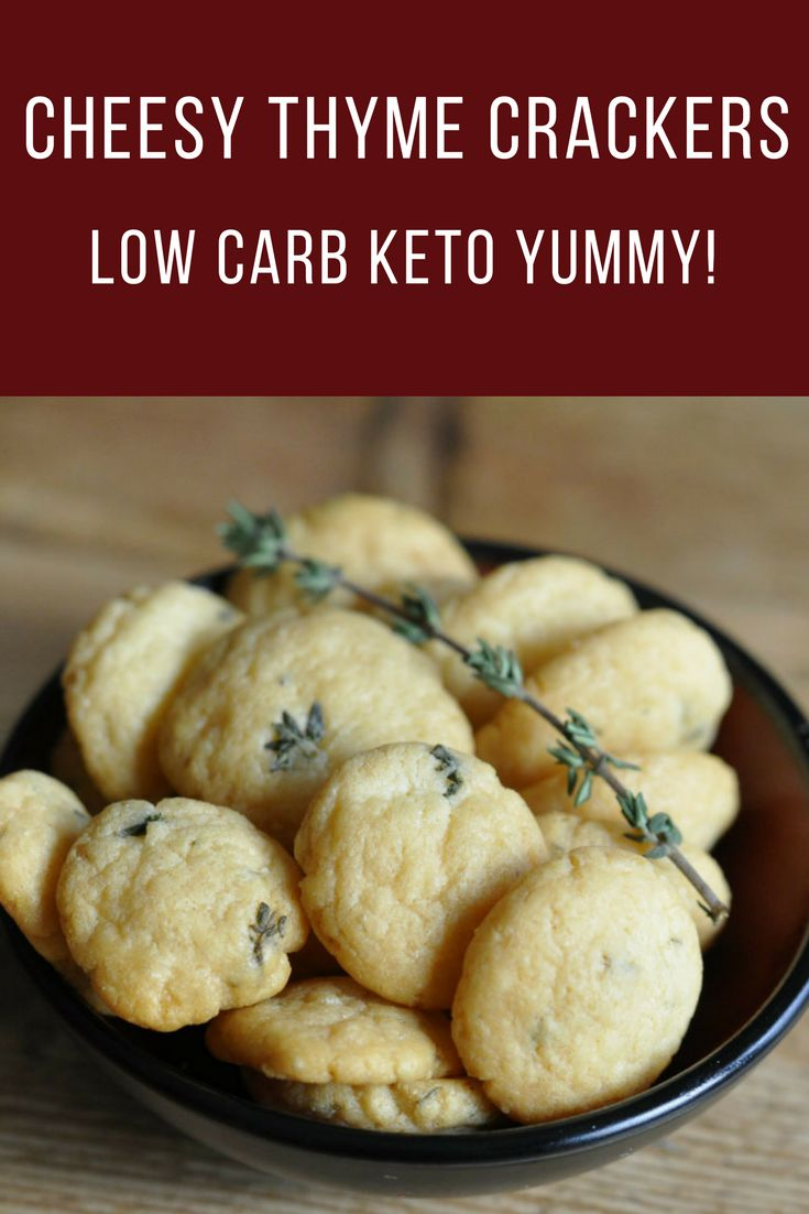 Cheesy Thyme Crackers - Low Carb Diet Keto Crackers - These are the perfect snack with only 3 grams of carbs per serving. Perfect for egg fast diet!