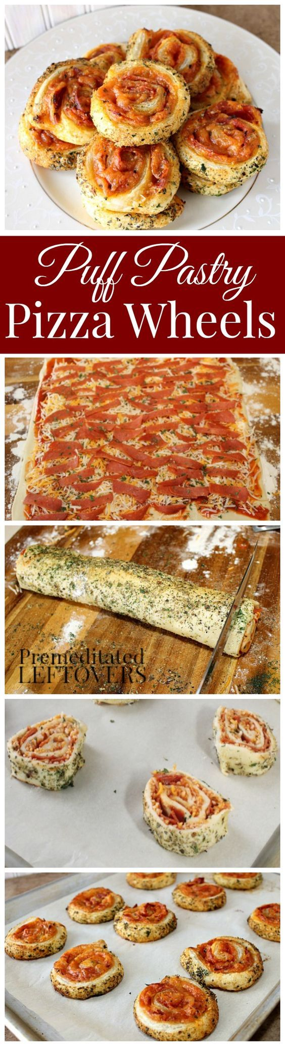 Puff Pastry Pizza Wheels Recipe: This quick and easy appetizer recipe is a tasty snack for parties. Add your favorite pizza toppings to the pizza wheel.:
