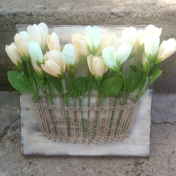 Flower Basket String Art, Mason Jar, Vase String Art, Home Decor Art, Rustic Basket, Lavender, String Art, Creamy Flowers