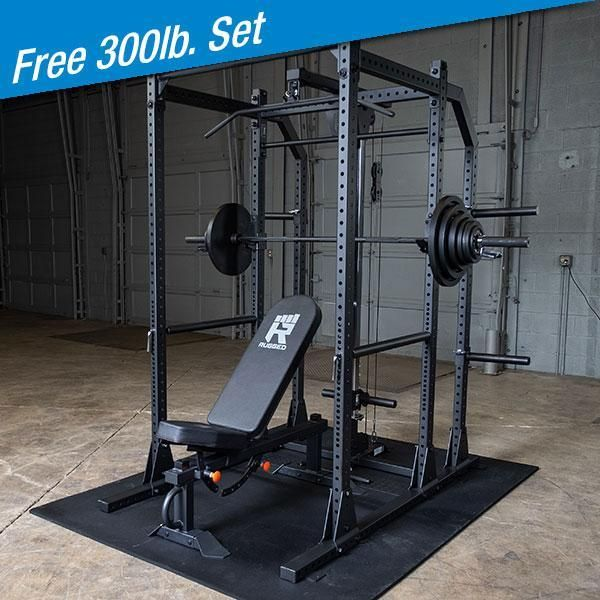 Rugged Power Rack Package With Free 300lb Weight Set Y100p8 Build Strength With The Y100 Half Rack With Extension Lat Incl Gym Setup Weight Set Power Rack