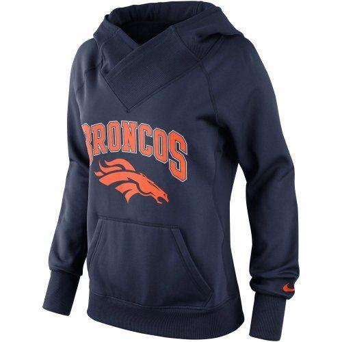 Nike Denver Broncos Ladies Wildcard Pullover Performance Hoodie - Navy Blue