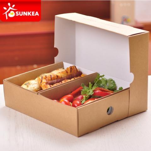 Take Away Sandwich Bread Kraft Brown Platter Food Box