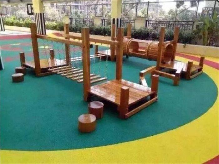 Combinaison en plein air de jardin d'enfants en bois swing jouet escalade pont forage formation de poutre trous toboggan enfant