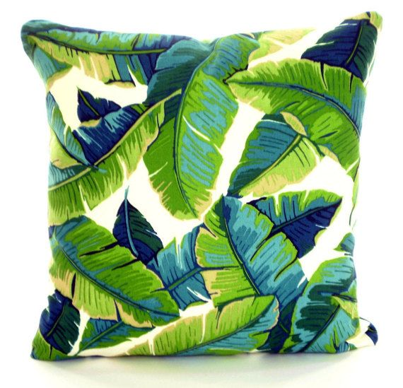 outdoor tropical pillow covers palms green aqua throw pillows cushions navy blue aqua ivory