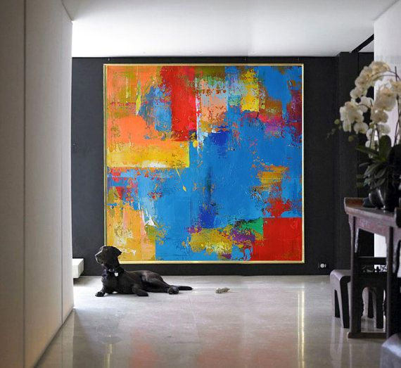 Handmade Large Contemporary Art Canvas Painting, Original Art Acrylic Painting, Abstract Canvas Art. Orange, Yellow, Blue, Red...