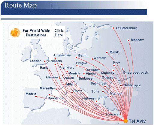 El Al Israel Airlines route map - Europe