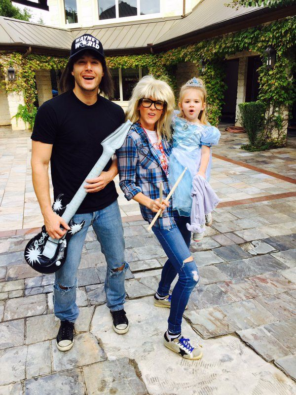 Jensen Ackles and His Wife as Wayne and Garth and Their Daughter as Cinderella