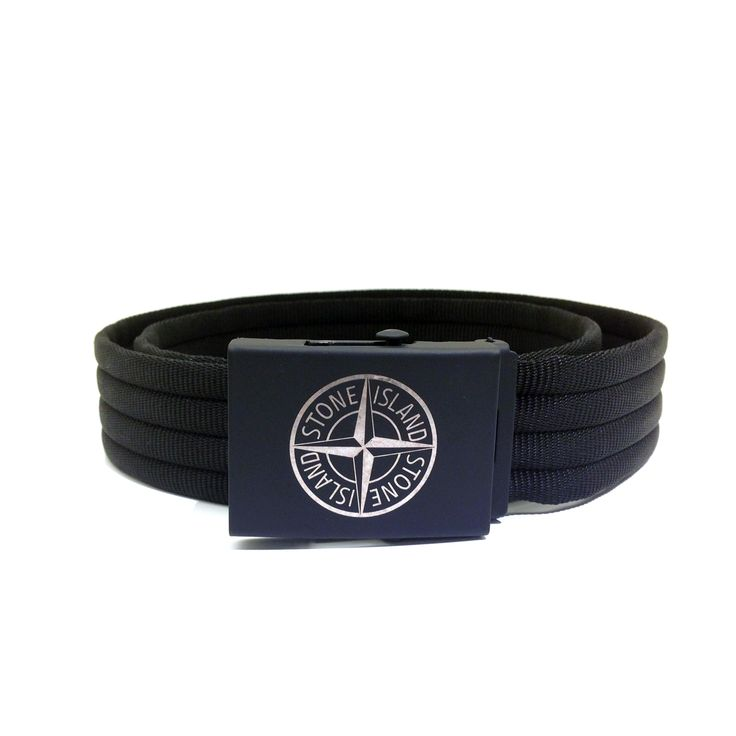 Sleek new Stone Island Logo Nylon Belt. It features durable nylon construction, adjustable metal buckle, logo print and is hand made in Italy.