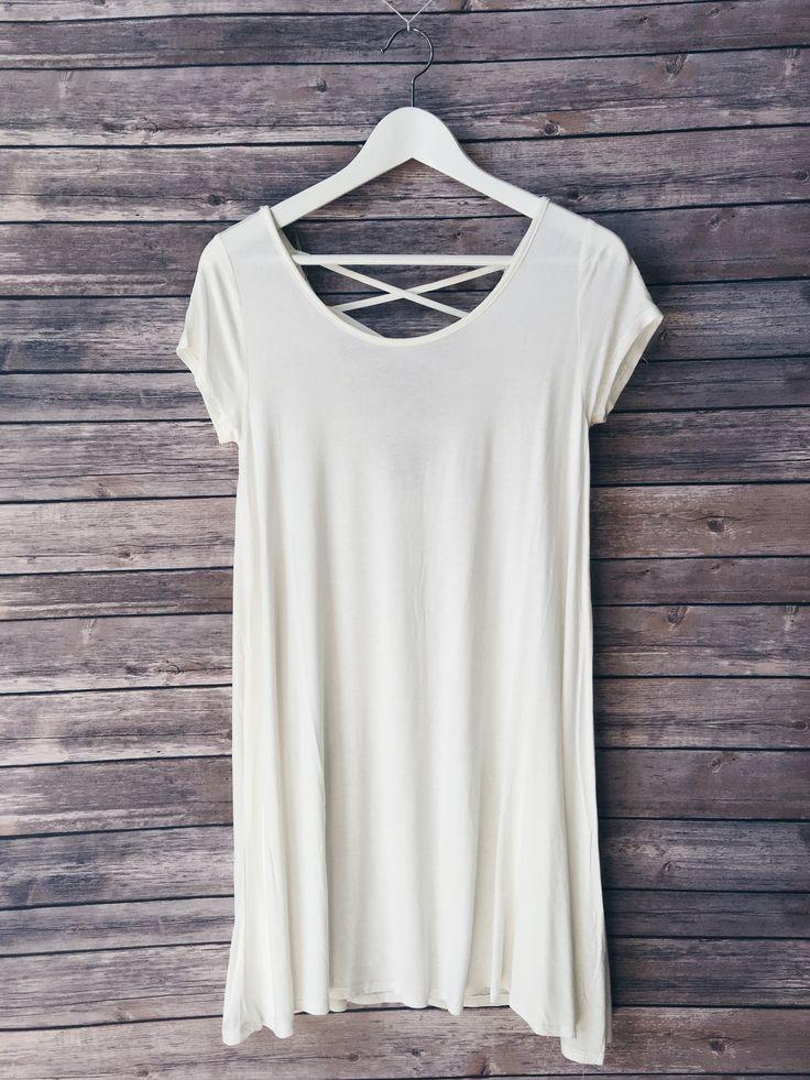 Sawyer Lattice Back Tee Dress (White)