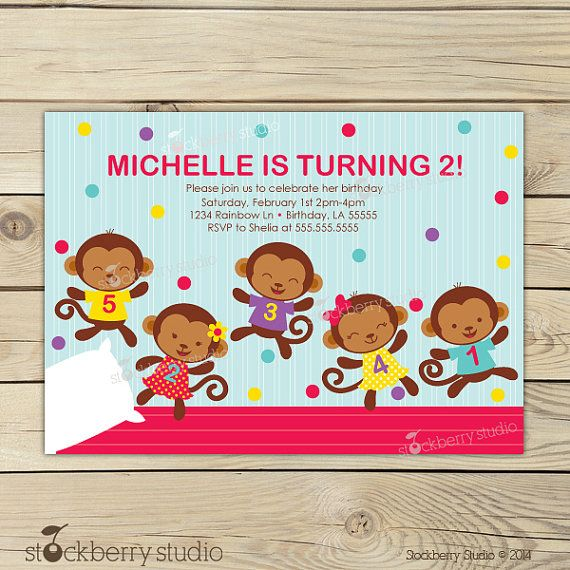 Monkey Birthday Invitation Printable - Five Little Monkeys Birthday Invitation - 5 Little Monkey Jumping On The Bed by stockberrystudio