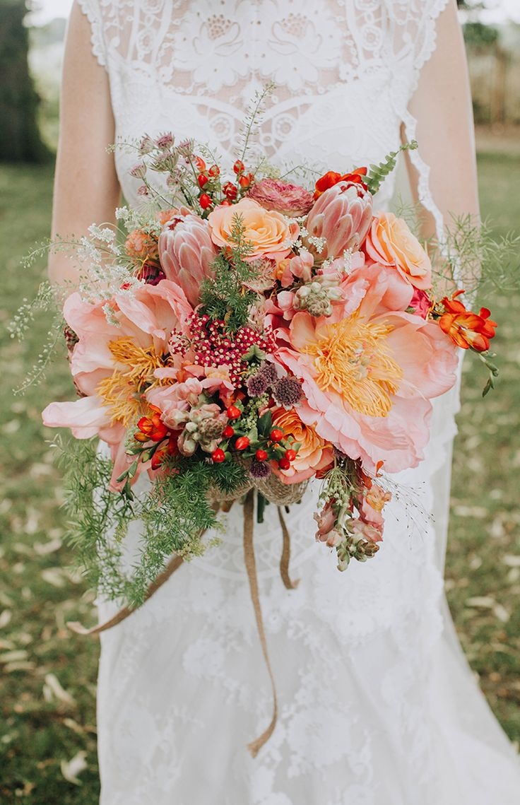 Peony King Protea Berry Bouquet Flowers Bride Bridal Orange Country Barn Wedding http://www.meganduffield.com/