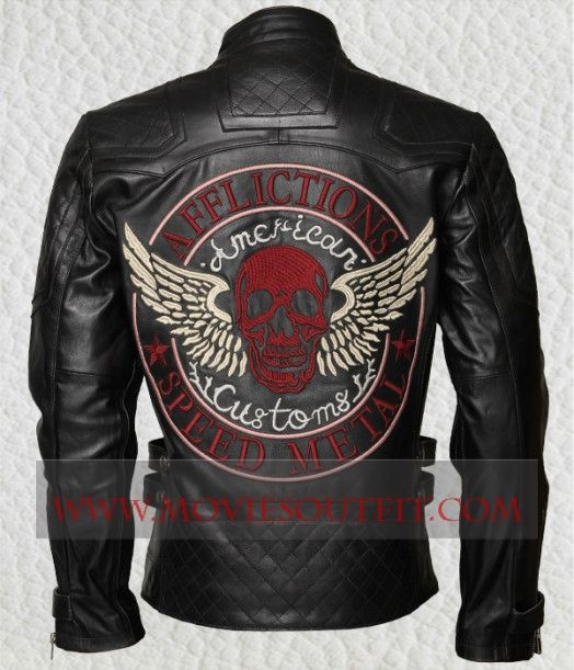 The Mens American Customs Speed Metal Skull Biker Jacket.  #bikerjacket #mensjacket #blackjacket #leatherjacket #menswear #mensfashion
