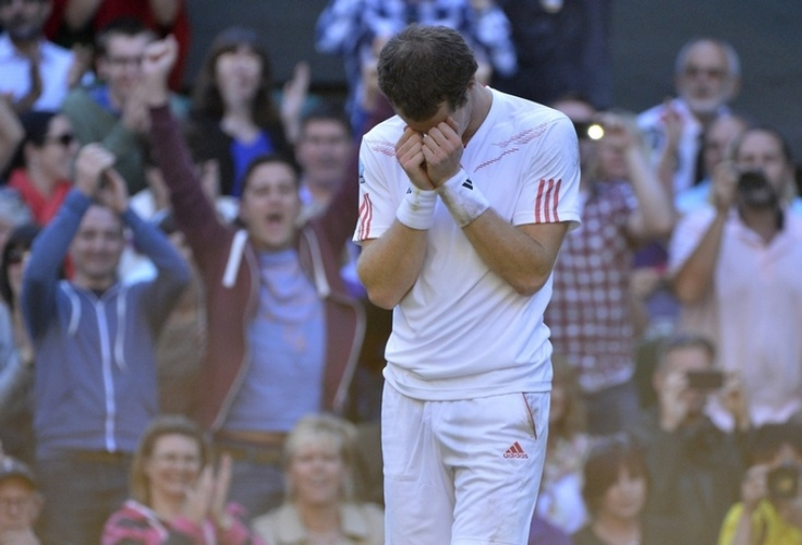 Andy Murray after reaching the final at Wimbledon 2012. First Brittish Wimbledonfinalist since 1938