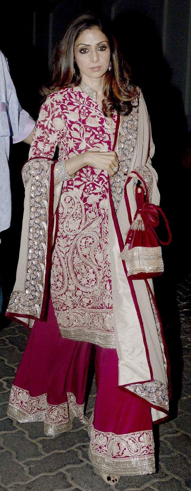 Sridevi kapoor in designer kurti sharara.  Visit Ethnico for more fashion updates- http://www.ethnicoapp.com/tag/bollywood
