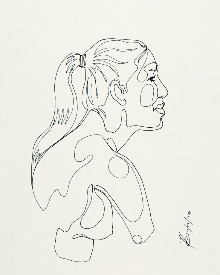 """""""Carla"""" - Original Ink Drawing -   A single ink line, drawn in one continuous stroke, reveals a strong, youthful woman.  9x12""""  #art #line #singularity #singleline #drawing #figure #nude #woman #figuredrawing"""