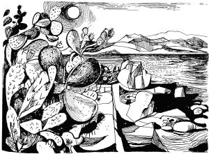 Time Was Away by Alan Ross Illustrations by John Minton P25 – Ajaccio – Cactus and Sea