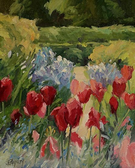 Tulips of Giverny I by Susan Fuquay Oil ~ 10 x 8