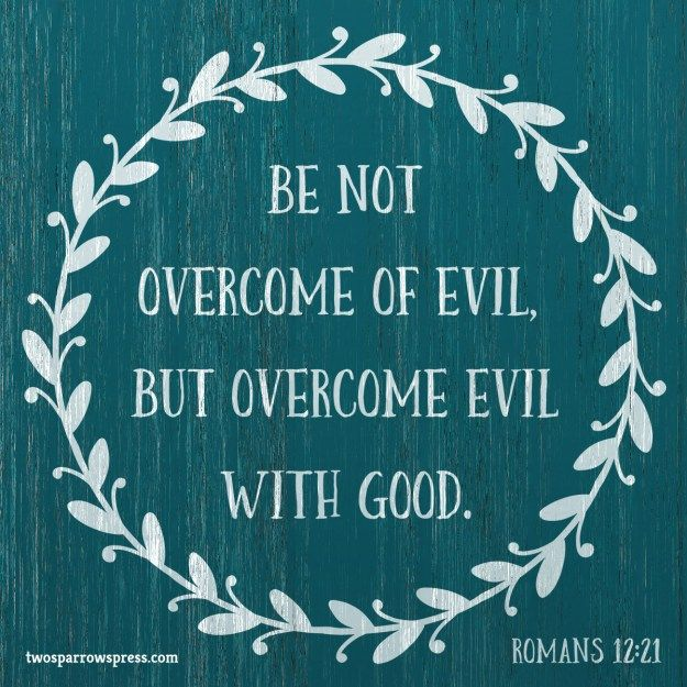 Be not overcome of evil, but overcome evil with good. Romans 12:21 http://www.twosparrowspress.com/2016/09/romans-12-21-2/ #Romans #God #Christian #Bible #TwoSparrowsPress