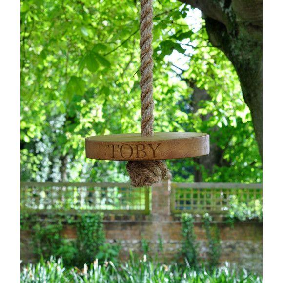 Personalised Round Oak Garden Swing | hardtofind.