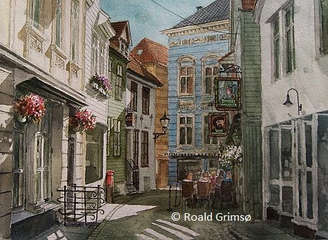 Kunstneren i Bergen: Akvarell av Hollendergaten i Bergen