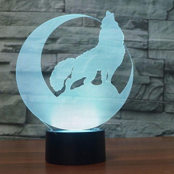 3d Wolf Howl In The Moon Nightlight Led Animal Table Lamp 7 Colors Usb Bedroom Bedside Sleep Light Fixture Home Decor Kids Gift Moon Nightlight Kids Gifts Lamp
