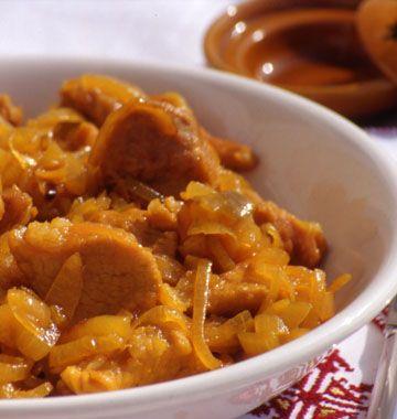 Tajine de veau aux oignons, miel et safran - Recettes de cuisine