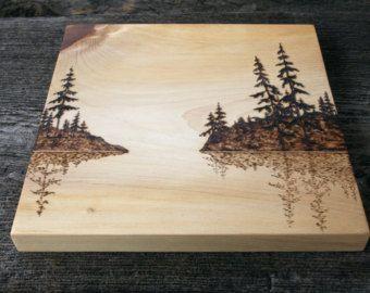 Matin brumeux - Art mural - bois brûlant
