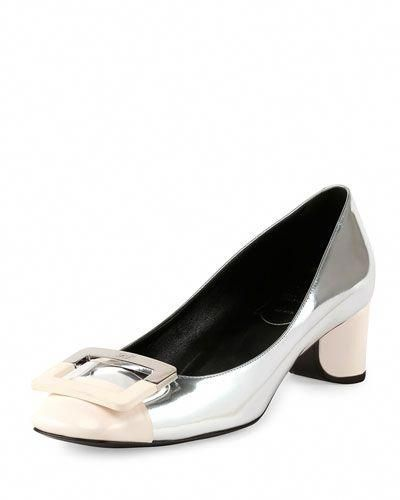 a2b65488c3 X2U61 Roger Vivier Decollette U-Cut Low-Heel Pump, Silver/White ...