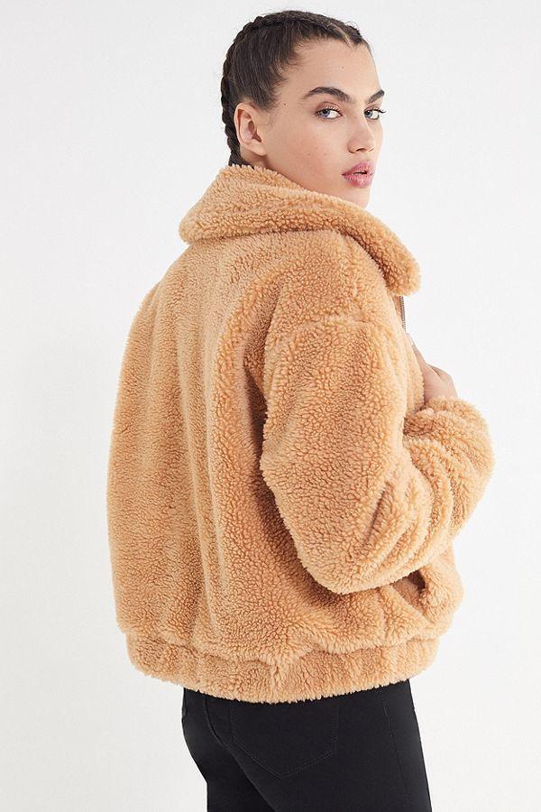 1021b53fc6e UO Cropped Teddy Jacket   style   Jackets, Fluffy coat, Teddy coat